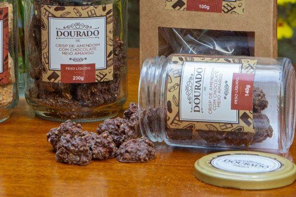 Crips de Amendoim com Chocolate Meio Amargo - Dourado de Amendoim