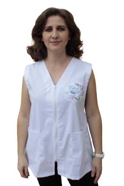 Avental Citrino feminino, com zíper e bordado na lateral