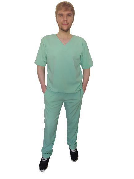 Scrub Jadeita masculino, manga curta, decote V, dois bolsos frontais e 2 traseiros