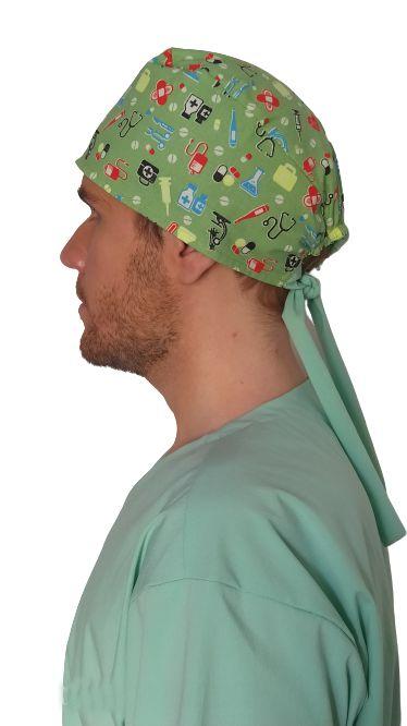 Touca tipo bandana, estampada medico