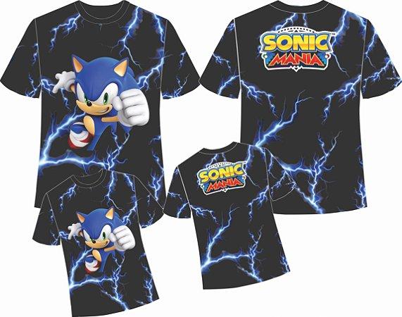 Kit - Sonic Raios - Camiseta Infantil, adulto e Vestido Baby Look