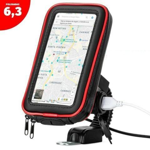 Suporte celular para moto prende suporte no retrovisor case impermeável com carregador USB promoção!