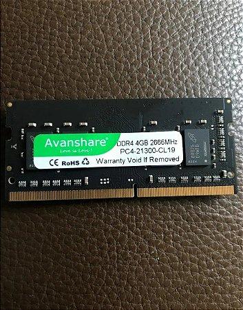 Memória Notebook Avanshare Chip Micron 4gb Ddr4 2666 Mhz Nova pronta entrega