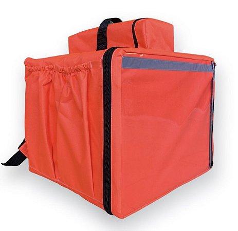 Mochila térmica 45 litros laranja neon - comporta embalagem até 35cm