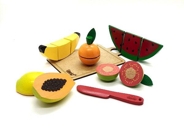 Kit 5 Frutinhas com corte + Faca + Tabua 3+