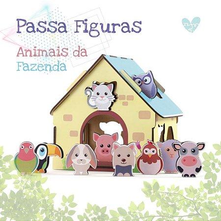 Passa Figuras Animais Da Fazenda -2+