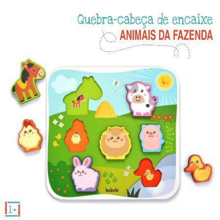 Quebra Cabeça de Encaixe Animais Da Fazenda - 12m+