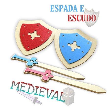 Kit escudo e espada medieval 2+