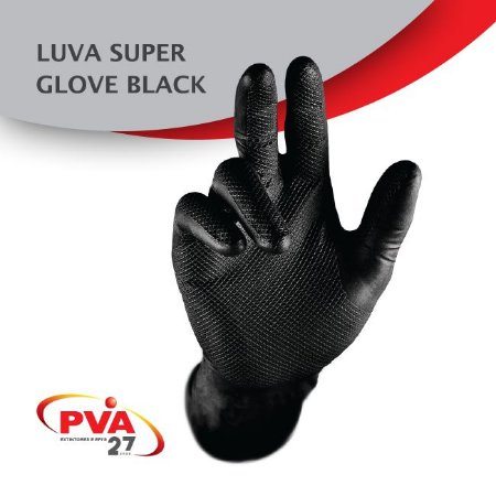 Luva Nitrílica Preta Super Glove Ca 38645 - Cx 50 unidades