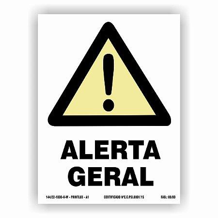 Placa de Sinalização de Alerta Fotoluminescente