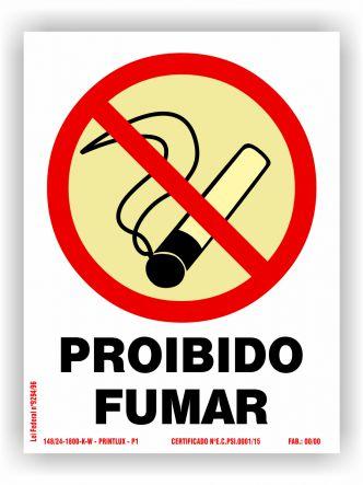 Placa de Sinalização de Proibição Fotoluminescente
