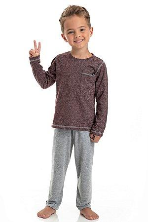 Pijama Longo Infantil Masculino Blusa Vinho Mesclada Calça Lisa Cinza