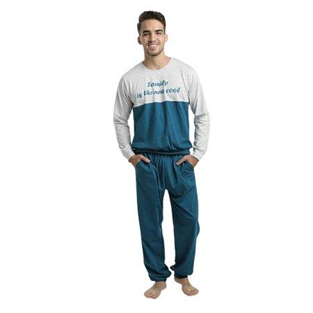 Pijama Longo Adulto Masculino Blusa Cinza/Verde Calça Lisa