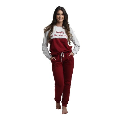 Pijama Longo Adulto Feminino Blusa Cinza/Vermelha Calça Lisa