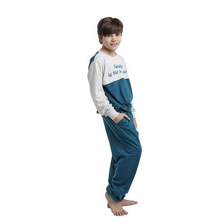 Pijama Longo Infantil Unissex Blusa Cinza/Verde Calça Lisa