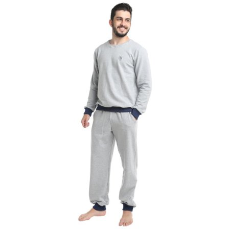 Pijama Longo Adulto Masculino Moletinho Sem Felpa Calça Laço Ajustável Branco