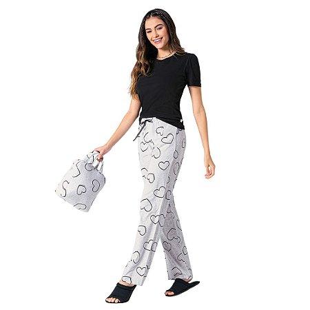 Pijama Curto Adulto Feminino Blusa Manga Drapeada Calça Branca de Coração