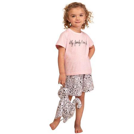 Pijama Curto Infantil Feminino My Family Love Pets