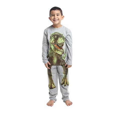 Pijama Longo Infantil Masculino Dinossauro Que Brilha