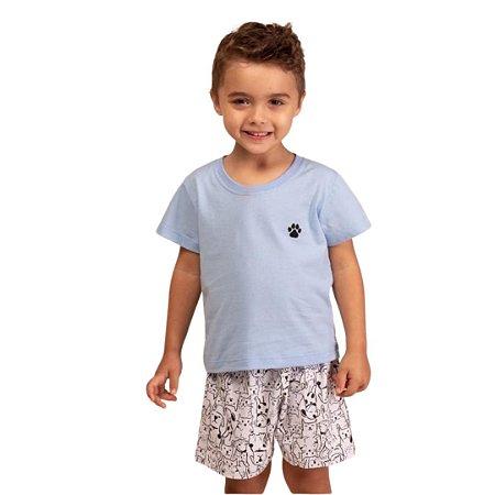 Pijama Curto Infantil Masculino Camiseta e Short Pets