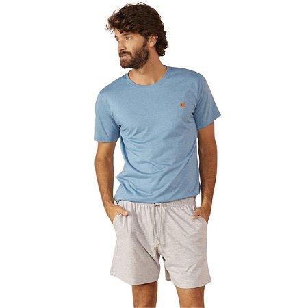 Pijama Curto Adulto Masculino Blusa Azul Bermuda Mescla