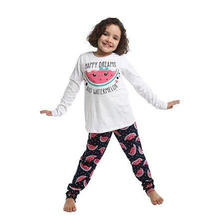 Pijama Longo Infantil Feminino Happy Dreams and Watermelon