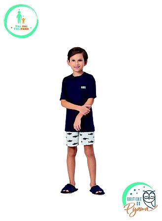 Pijama Curto Infantil Masculino Tubarao