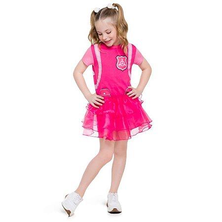 Pijama Curto Infantil Feminino Patrulha Canina Rosa