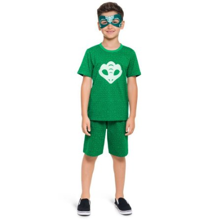 Pijama Curto Infantil Masculino PJMasks Lagartixo