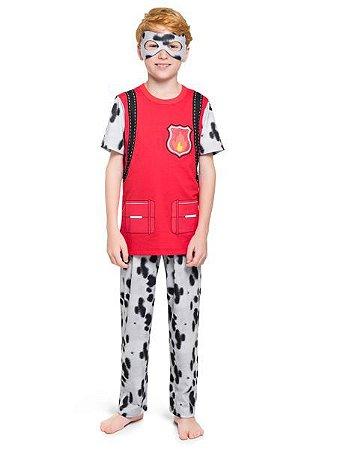 Pijama Curto Infantil Masculino Patrulha Canina Vermelho