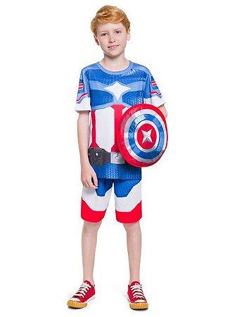 Pijama Curto Infantil Masculino Capitão América