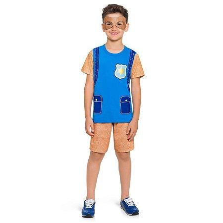 Pijama Curto Infantil Masculino Patrulha Canina Azul
