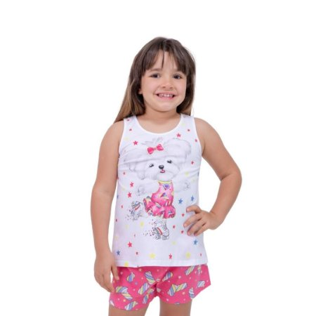 Pijama Curto Infantil Feminino Branco/Rosa Brilha no Escuro