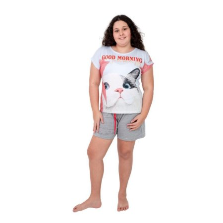 Pijama Curto Adulto Feminino Good Morning Just Be Happy