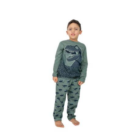 Pijama Longo Infantil Masculino Dinossauro Brilha no Escuro Verde