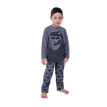 Pijama Longo Infantil Masculino Dinossauro Brilha no Escuro Cinza