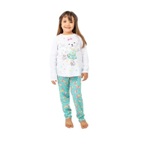 Pijama Longo Infantil Feminino Cachorro Branco/Azul