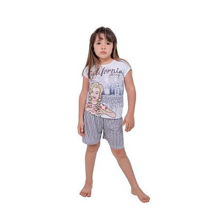 Pijama Curto Infantil Feminino California Feelings