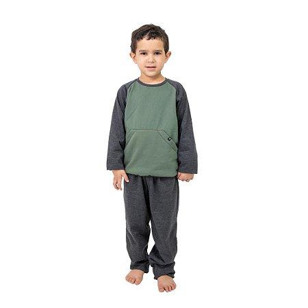 Pijama Longo Infantil Masculino Com Bolso Canguru