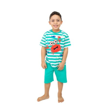 Pijama Curto Infantil Masculino Caranguejo Verde