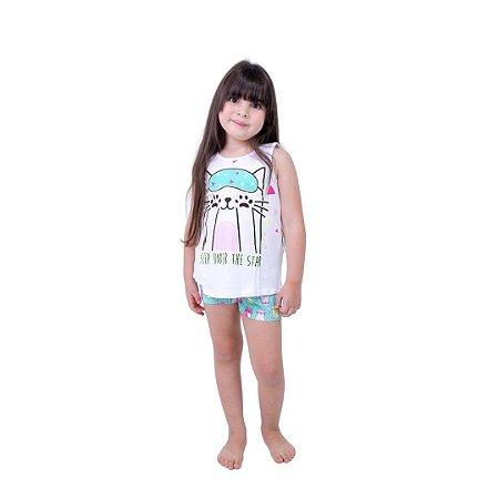 Pijama Curto Infantil Feminino Gatinho com Tapa Olho