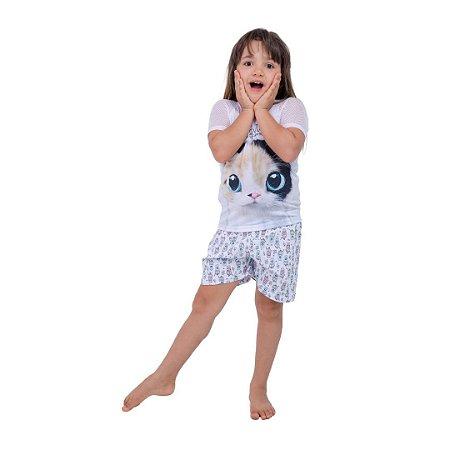 Pijama Curto Infantil Feminino Gato Good Night