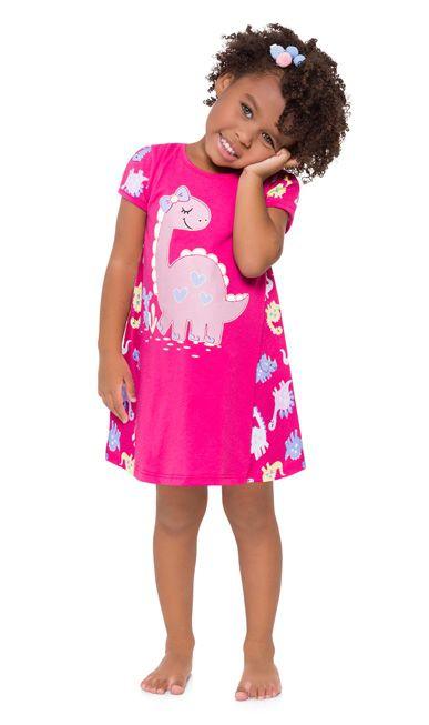 Camisola Curta Infantil Dinossauro Rosa Brilha no Escuro