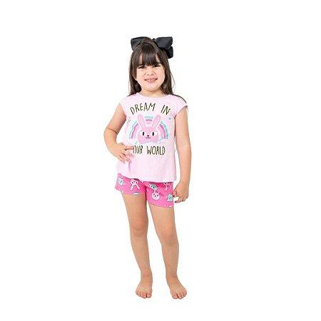 Pijama Curto Infantil Feminino Dream In Your World Rosa