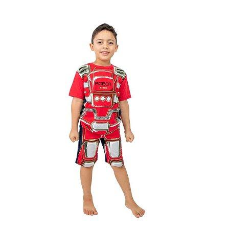 Pijama Curto Infantil Masculino Robô Vermelho Brilha no Escuro