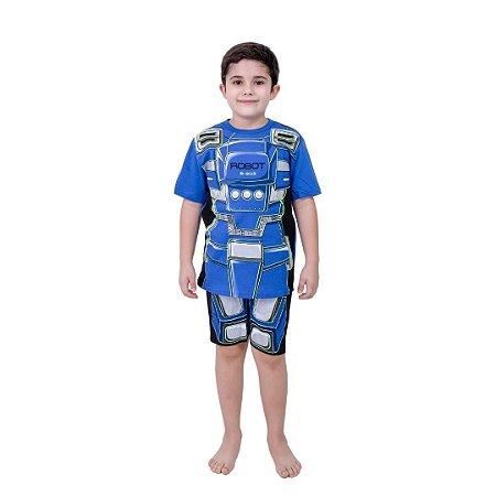 Pijama Curto Infantil Masculino Robô Azul Brilha no Escuro