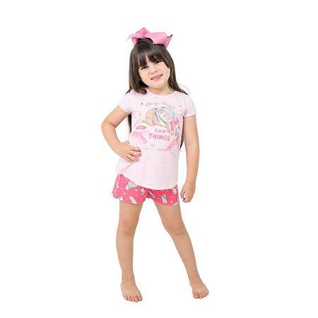 Pijama Curto Infantil Feminino Always Dream Good Things Branco/Rosa