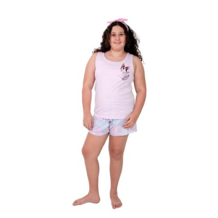 Pijama Curto Adulto Feminino Aplique Cachorro