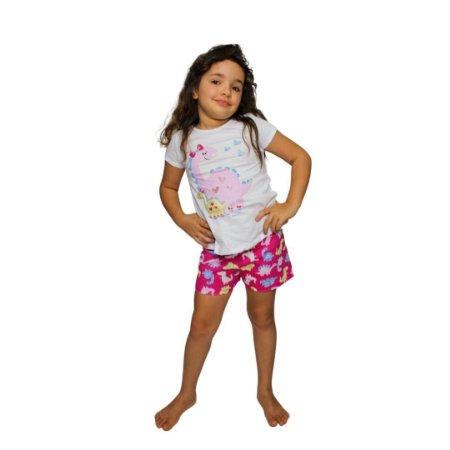 Pijama Curto Infantil Feminino Dinossauro Brilha no Escuro Branco/Rosa