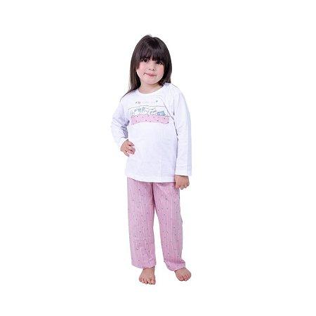 Pijama Longo Infantil Feminino Be Happy Day